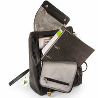 Jahn-Tasche 711 - Großer, schwarzer Lederrucksack bzw. Laptop Rucksack, Aufsicht geöffnet, Inhalt A4-Aktenordner und Laptop - 05