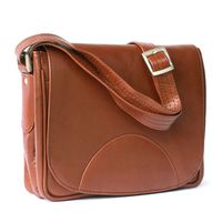 Hamosons – Small women's handbag size S / shoulder bag in a retro look made out of oiled leather, chestnut brown, model 575