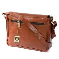 Hamosons, geöltes Leder, 575 -  Kleine, kastanienbraune Damen Handtasche bzw. Umhängetasche, Rückansicht - 05