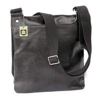 Jahn-Tasche, 418 – Mittelgroße, schwarze Handtasche bzw. Umhängetasche aus Leder, Rückansicht - 03