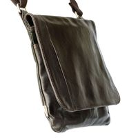 Jahn-Tasche – shoulder bag size M / handbag made out of Nappa leather with a padded tablet computer compartment, brown, model 428-2