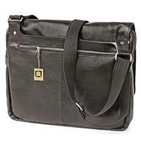 Jahn-Tasche – Elegant laptop shoulder bag size M / notebook bag up to 14 inches, made out of nappa leather, black, model 438