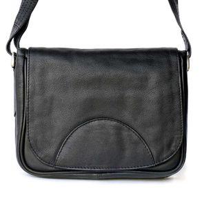 Hamosons Nappaleder 575 -  Kleine, schwarze Damen Handtasche bzw. Umhängetasche, Frontansicht - 01