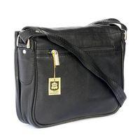 Hamosons – Kleine Damen-Handtasche Größe XS / Umhängetasche im Retro-Look aus Nappa-Leder, Schwarz, Modell 575