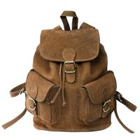 Hamosons – Large leather backpack size L / laptop backpack up to 15.6 inches, made out of buffalo leather, brown, model 560