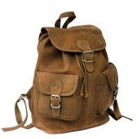 Hamosons – Großer Lederrucksack Größe L / Laptop-Rucksack bis 15,6 Zoll, aus Büffel-Leder, Braun, Modell 560