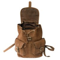 Hamosons – Large leather backpack size L / laptop backpack up to 15.6 inches, made out of buffalo leather, brown, model 560-3