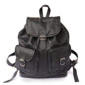 Hamosons 560 - Gr0ßer, schwarzer Lederrucksack bzw. Laptop Rucksack aus Nappaleder, Frontansicht - 04