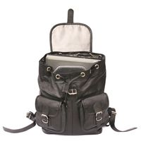 Hamosons – Large leather backpack size L / laptop backpack up to 15.6 inches, made out of nappa leather, black, model 560