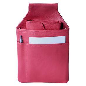 Hamosons, 1009 - Pink-Farbenes Profi Kellnerholster bzw. Kellnerhalfter aus Nappa-Leder, Frontansicht mit Börse, Block und Stift- 01