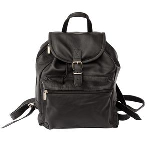 Hamosons – Medium sized leather backpack / city bag size M made out of nappa leather, black, model 512