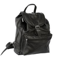 Hamosons – Medium sized leather backpack / city bag size M made out of nappa leather, black, model 512-2