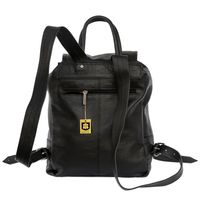Hamosons – Medium sized leather backpack / city bag size M made out of nappa leather, black, model 512-5
