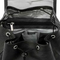 Hamosons 512 - Mittelgroßer, schwarzer Lederrucksack bzw. Cityrucksack, Nappaleder,  Aufsicht geöffnet, Fokus auf inneres Reißverschlussfach - 05