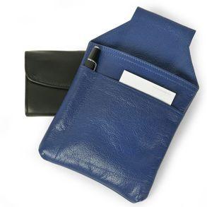 Hamosons, 1009 - Blaues Profi Kellnerholster bzw. Kellnerhalfter aus Nappa-Leder, Aufsicht mit Block und Stift - 01