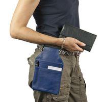 Hamosons, 1009 - Blaues Profi Kellnerholster bzw. Kellnerhalfter aus Nappa-Leder, Seitenansicht, am Gürtel getragen - 04