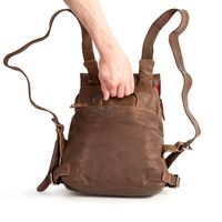 Harolds – Small leather backpack size S / handbag backpack made out of leather, brown, model 223702-5