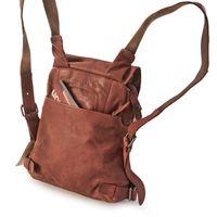 Harolds 223702 - Kleiner, rostfarbener Lederrucksack bzw. Rucksackhandtasche, Rückansicht - 04