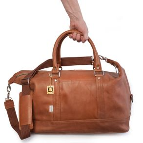Jahn-Tasche – Small travel bag / weekend bag size S made out of nappa leather, cognac brown, model 698