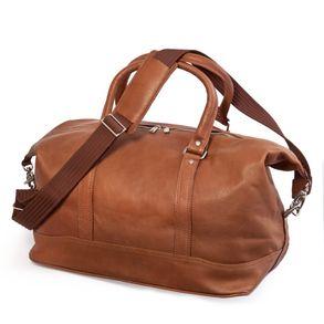 Jahn-Tasche, 698 - Kleine, cognac-braune Reisetasche aus Leder, Modell 698, Seitenansicht - 02