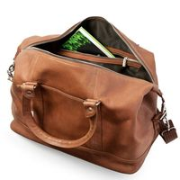 Jahn-Tasche, 698 - Kleine, cognac-braune Reisetasche aus Leder, Modell 698, Aufsicht geöffnet - 03