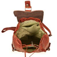 Harolds – Chic leather backpack / city bag size M made out of leather, rust red, model 223902-4