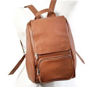 Jahn-Tasche, 710 - Mittelgroßer, Cognac-Brauner Lederrucksack bzw. Laptop Rucksack, Seitenansicht, von Figur aufgesetzt - 01