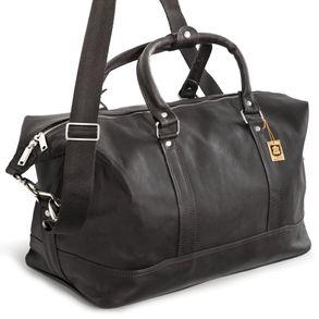 Jahn-Tasche, 698 - Kleine, schwarze Reisetasche aus Leder, Modell 698, Seitenansicht - 01