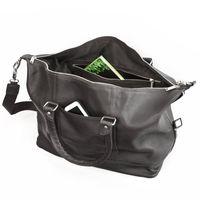 Jahn-Tasche, 698 - Kleine, schwarze Reisetasche aus Leder, Modell 698, Aufsicht geöffnet - 03