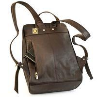 Jahn-Tasche, 710 - Mittelgroßer, Brauner Lederrucksack bzw. Laptop Rucksack, Rückenansicht - 02