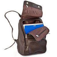 Jahn-Tasche, 710 - Mittelgroßer, Brauner Lederrucksack bzw. Laptop Rucksack, Seitenansicht geöffnet, Inhalt A4-Unterlagen - 03