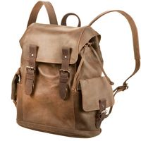Harolds - Leather Backpack, Rucksack, Knapsack size M, Model-241603 Brown
