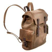 Harolds 241603  – Brauner Vintage bzw.  Retro Rucksack aus Leder, Seitenansicht mit Fokus auf Seitentasche - 02