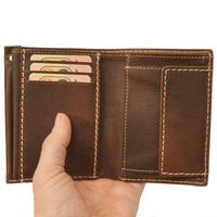 Branco – Medium-sized wallet / billfold size M for men made out of leather, upright format, brown, model 14769-2
