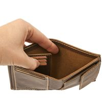 Branco – Medium-sized wallet / billfold size M for men made out of leather, upright format, brown, model 14769-3