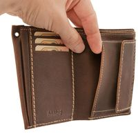 Branco – Mittel-Große Geldbörse / Portemonnaie Größe M für Herren aus Leder, Hochformat, Braun, Modell 14769