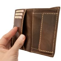 Branco – Medium-sized wallet / billfold size M for men made out of leather, upright format, brown, model 14769