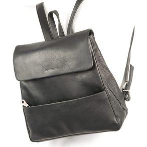 Harolds 445125 - Mittelgroßer, schwarzer Lederrucksack bzw. Rucksackhandtasche, Frontansicht - 01