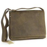 Harolds – Umhängetasche Größe M / Messenger Bag aus Leder, Khaki-Grün, Modell 310403
