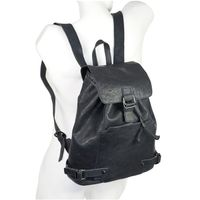 Harolds – Chic leather backpack / city bag size M made out of leather, blue black, model 223902
