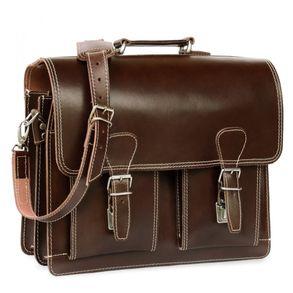 Hamosons, 600 - Klassische, braune Aktentasche bzw. Lehrertasche, Seitenansicht - 01