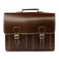 Hamosons, 600 - Klassische, braune Aktentasche bzw. Lehrertasche, Frontansicht - 02