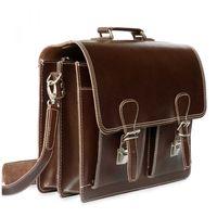 Hamosons, 600 - Klassische, braune Aktentasche bzw. Lehrertasche, Seitenansicht mit Detailansicht Karabiner - 06