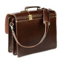 Hamosons, 600 - Klassische, braune Aktentasche bzw. Lehrertasche, Rückansicht - 05