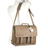 Hamosons – Classic briefcase / teacher bag size L made out of buffalo leather, cream beige, model 600            -6