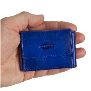 Branco, 103 - Sehr kleine Geldbörse bzw. Mini-Portemonnaie in blau, Frontansicht mit Hand - 01