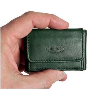 Branco, 103 - Sehr kleine Geldbörse bzw. Mini-Portemonnaie in grün, Frontansicht mit Hand - 01