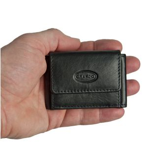 Branco – Very small wallet / coin purse size XS made out of leather, black, model 103