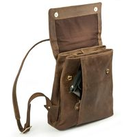 Harolds 418303 - Kleiner, naturfarbener Lederrucksack bzw. Rucksackhandtasche, Seitenansicht geöffnet - 02