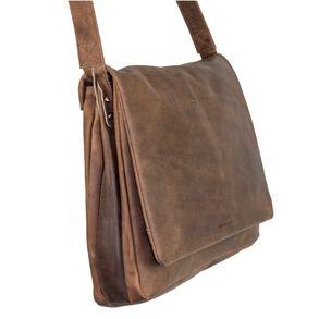 Harolds, 310403 – Natur-Braune mittel-Große Umhängetasche bzw. Messenger Bag aus Leder, Seitenansicht - 01